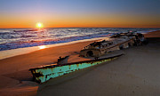 Pea Island Prints - Beached Boat at Sunrise II - Outer Banks Print by Dan Carmichael