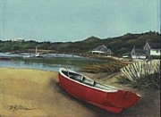 Boston Ma Mixed Media Prints - Beached Boat Print by Diane Strain