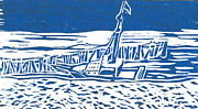 New England Ocean Drawings Prints - Beached Boat Wellfleet Blue Print by Victoria Haskell