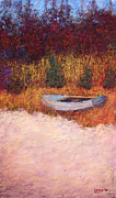 Abandoned Pastels Posters - Beached Boat Poster by William Lurcott