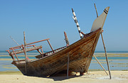 Beached Dhow At Wakrah Print by Paul Cowan