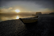 Lubec Prints - Beached Dory in Lifting Fog  Print by Marty Saccone