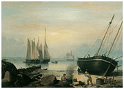 Sailing Ships Posters - Beached for Repairs Duncans Point Gloucester Poster by Fitz Hugh Lane