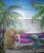 Invitations Paintings - Beached Mermaid by Jan Muse