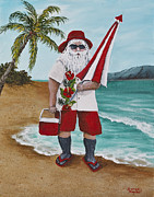 Christmas Greeting Metal Prints - Beachen Santa Metal Print by Darice Machel McGuire
