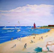 Wisconsin Landscape  Painting Originals - Beaching at Kenosha Wisconsin  by Kenneth Michur