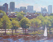 Charles River Painting Framed Prints - Beacon Hill Framed Print by Dianne Panarelli Miller