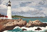 New England Lighthouse Paintings - Beacon of Love by Cynthia Morgan