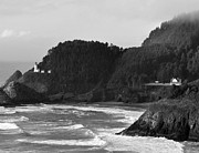 Black And White Photography Painting Metal Prints - Beacon on the Bluff Metal Print by Kirt Tisdale