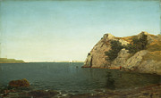 Horizon Paintings - Beacon Rock Newport Harbour by John Frederick Kensett