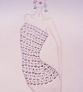 Fashion Illustration Pastels Posters - Beaded Bodice Poster by Christine Corretti