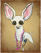 Chihuahua Framed Prints - Beaded Chihuahua Caricature Framed Print by Canine Caricatures By John LaFree