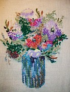 Interior Still Life Mixed Media Originals - Beaded flowers by Armen Abel Babayan