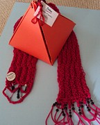 Featured Tapestries - Textiles - Beaded Fuchsia Scarf by Gay Taweel