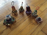 Holiday Glass Art - Beaded Jingle Bells by Abelone Edwards