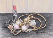 Gold Necklace Pastels Originals - Beads and Bangles by Lucy Hayward