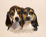 Puppies Print Prints - Beagle Babies Print by Suzanne Schaefer