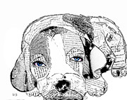 Portraits Of Pets Mixed Media - Beagle Days B/w by Brian Buckley