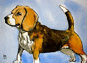Best Friend Drawings Posters - Beagle Poster by Pete Maier