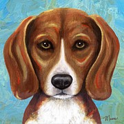 Beagle Puppies Paintings - Beagle Puppy Portrait by Linda Mears