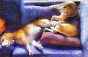 Purple Couch Posters - Beagles on the Couch Poster by Natalia Corres
