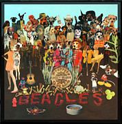 Sgt Pepper Mixed Media Framed Prints - Beagles Framed Print by Susie DeZarn