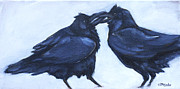 Crows Paintings - Beak-Cuz I Love You by Eve McCauley