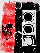 Linocut Posters - Beak in Red and Black Poster by Cynthia Lagoudakis