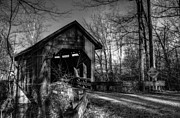 Creeks Photo Posters - Bean Blossom Bridge bw Poster by Mel Steinhauer