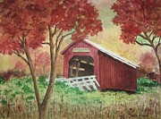 Covered Bridge Painting Metal Prints - Bean Blossom Covered Bridge Metal Print by Anita Riemen