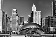 Chicago Black White Metal Prints - Bean Skyline Metal Print by Mike Burgquist