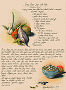 Fresh Vegetables Painting Posters - Bean Soup and Vegetables Poster by Alessandra Andrisani