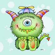 Color Pencil Prints - Beanie Monster Print by Annie Troe