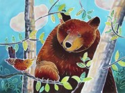 Summer Fun Painting Originals - Bear and the Nuthatch by Harriet Peck Taylor