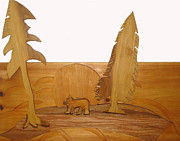 Log Cabin Art Sculpture Prints - Bear Between Two Trees Print by Robert Margetts