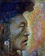 Egg Tempera Framed Prints - Bear Bull Shaman Framed Print by Otto Rapp