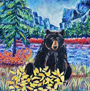 Black Pastels Framed Prints - Bear by the Lake Framed Print by Harriet Peck Taylor