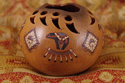 Indian Ceramics Prints - Bear Claw Navajo Bowl Print by Mike Wheeler