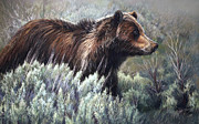 Park Pastels Prints - Bear Crossing Print by Deb LaFogg-Docherty