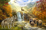 Wolves Digital Art Metal Prints - Bear Falls Metal Print by Jan Patrik Krasny