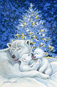 Winter Night Painting Metal Prints - Bear Hug Metal Print by Richard De Wolfe