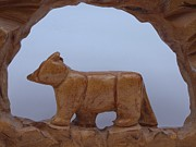 Wildlife Sculptures - Bear in a cave by Robert Margetts