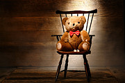 Teddy Bear Framed Prints - Bear in a Chair Framed Print by Olivier Le Queinec