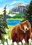 Montana Wildlife Paintings - Bear in the Beargrass by Harriet Peck Taylor
