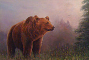 Donna Tucker Posters - Bear in the Mist Poster by Donna Tucker