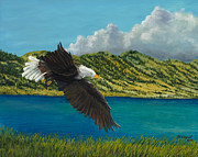 Thunder Paintings - Bear Lake Eagle by Michael Shegrud