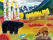 Bird Art Prints - Bear Meets Raccoon Print by Harriet Peck Taylor