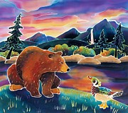 Whimsical Children Prints - Bear Meets Wood Duck Print by Harriet Peck Taylor