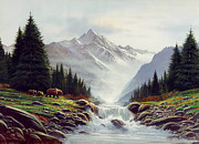 Salmon Fishing Paintings - Bear Mountain by Robert Foster
