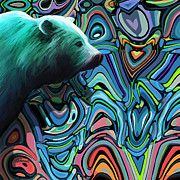 Green Abyss Paintings - Bear on the Abyss by Dorinda K Skains